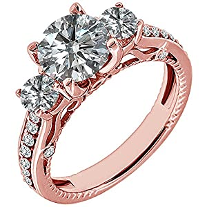 1.39 Carat G-H I2-I3 Diamond Engagement Wedding Anniversary Halo Bridal Ring Set 14K Rose Gold