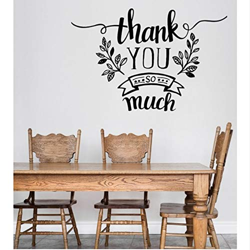 (yyfdy Monochrome Vinyl Decal Wall Sticker Thank-Phrase Quotes Thank You So Much Decoration Wall Decals for Living Room Removable 85X56Cm)