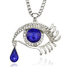 Q&Q Fashion Turkish Nazar Greek CZ Evil Eye Faux Sapphires Silver Pendant Box Chain Necklace