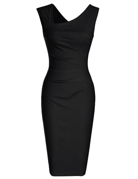 51dc3c3976a5 Women s Retro 1950s Style Sleeveless Slim Business Pencil Dress Burgundy