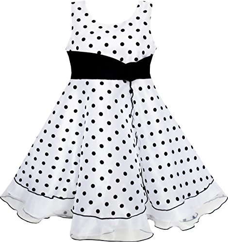 HM83 Girls Dress Black White Dot Tulle Party Pageant Size 7-8,Black, (Kids Black Dresses)