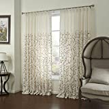Leyden Double Pinch Pleat Country Elegant Abstract Coffee Growing Branches Linen Embroidery Beige Curtain Drapes Multi Size Available Custom (One Panel) 72Wx84″L Review