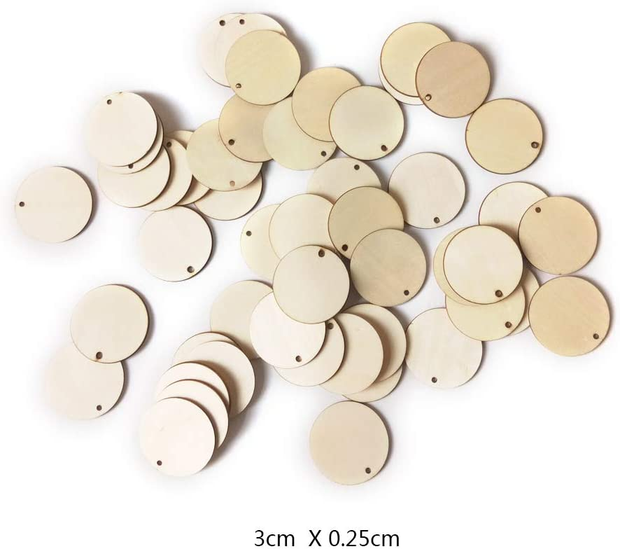 3 cm Eillybird Lot de 50 rondelles en Bois avec Trou Rond pour Bricolage