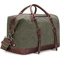 Kattee Genuine Leather Trim Canvas Travel Duffel Bag 45L (Black/Army Green/Dark Gray)