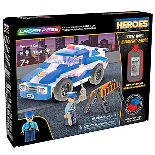 Laser Pegs Pursuit Car Light-Up Building Block Playset,
