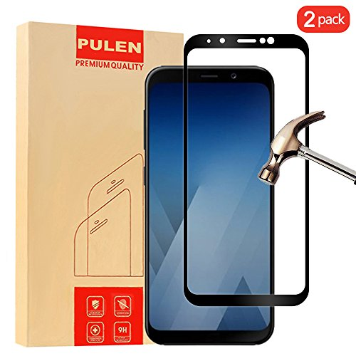 Price comparison product image [2-Pack] Samsung Galaxy A8 plus 2018 Screen Protector, PULEN 0.3MM Slim And 9H Hardness Tempered Glass [Anti-Scratch] [Bubble Free] Extreme Hardness with Lifetime Replacement Warranty (Black)