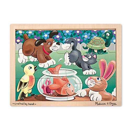 Melissa & Doug Pets Wooden Jigsaw Puzzle With Storage Tray (12 pcs) (12 Piece Wooden Puzzle)
