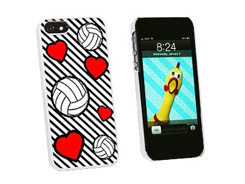 Graphics and More Volleyball Love Snap-On Hard Protective Case for iPhone 5/5s - Non-Retail Packaging - White - Iphone5s Volleyball Cases