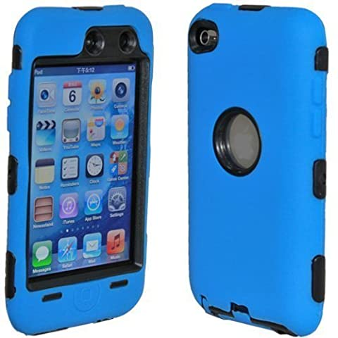 Importer520 (TM) 3-Piece Deluxe Hybrid Premium Rugged Hard Soft Case Skin Cover for Apple iPod Touch 4G, 4th Generation, 4th Gen 8GB / 32GB / 64GB (Dark Blue / (Ipod 4th Gen Case Blue)