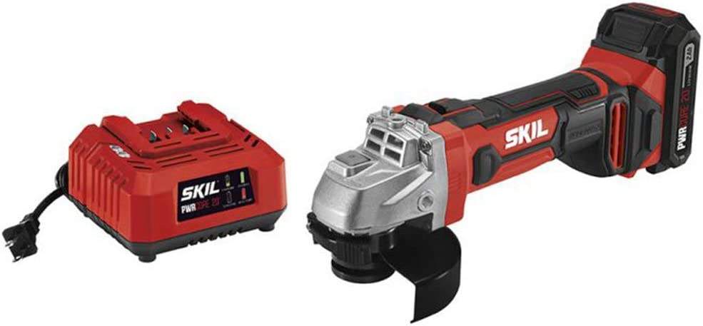 2 Ah Lithium-Ion Battery and Charger Angle Grinder with 1 Skil AG290202 PWRCore 20 20V 4-1//2 in