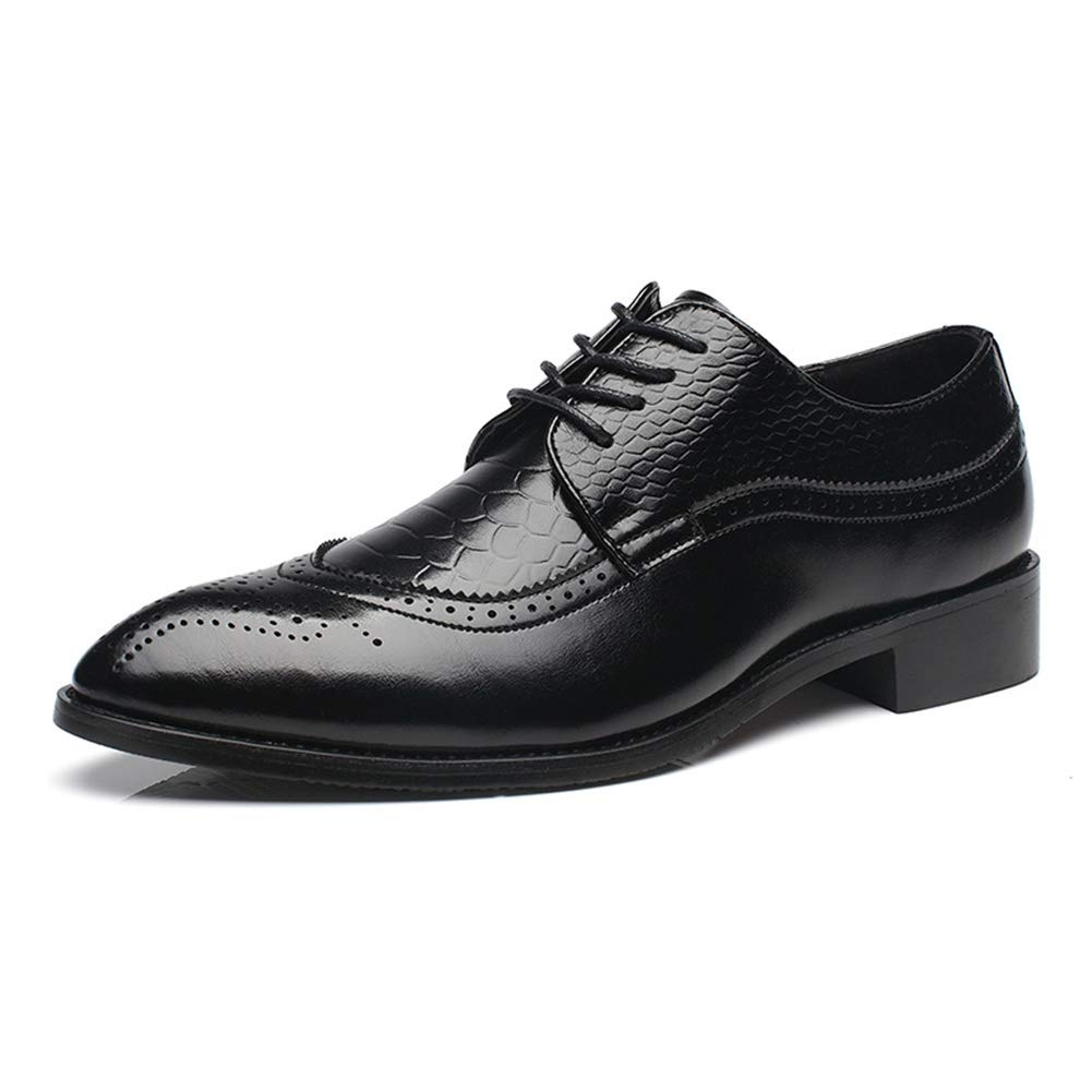 HYJ Men's Dress Shoes Geniune Leather Black Oxford Shoes for Men Size 8.5