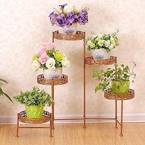 Soporte de flores de hierro forjado, cinco macetas ...