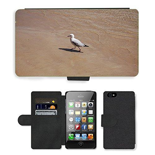 Just Phone Cases PU Leather Flip Custodia Protettiva Case Cover per // M00127940 Sable Sea Bird océan Mouette // Apple iPhone 4 4S 4G