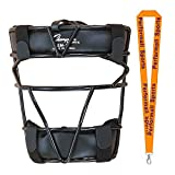 Champion Sports Baseball Softball Catcher's Mask Black Bundle with 1 Performall Lanyard SM1-1P