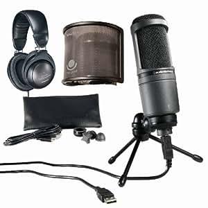 audio technica at2020 usb plus usb microphone with ath m20 headphones bundle. Black Bedroom Furniture Sets. Home Design Ideas