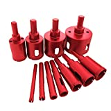 11Pcs 6-50mm Diamond Coated Drill Bit Set Marble Granite Ceramic Tile Glass Hollow Core Drill Bits Diamond Hole Saw Drill Bits Drilling Power Extractor Remover Tools Drill Cutter Hole Saw Cutter Tool