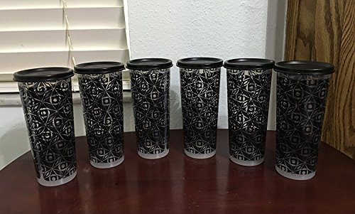 (Tupperware Geo Illumina Tumblers Set of 6 in Black and Clear Colors)