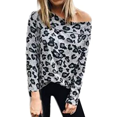 708a1bd5b3a4f3 Keliay Bargain New Women Zebra Leopard Print Off Shoulder Blouses Long  Sleeve Tunic Tops at Amazon Women s Clothing store