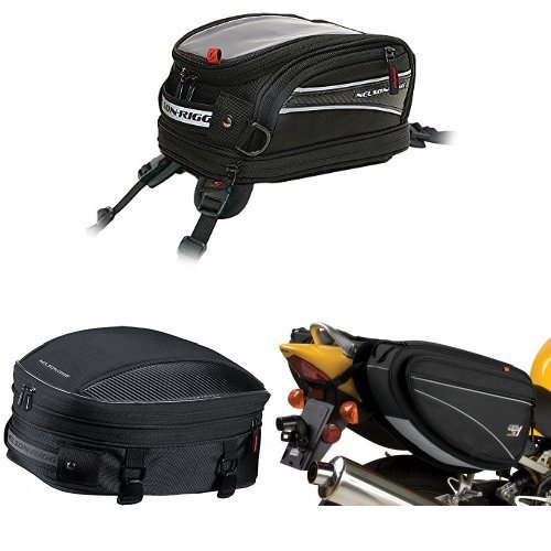 Nelson-Rigg CL-2014-ST Black Strap Mount Journey Mini Tank Bag, CL-1060-S Black Sport Tail/Seat Pack, and CL-950 Black Deluxe Sport Touring Saddle Bag Bundle