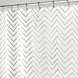 Silver Shower Curtain mDesign Decorative Metallic Chevron Print Water Repellent, Fabric Shower Curtain for Bathroom Showers and Stalls, Machine Washable � 72