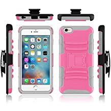 iPhone 6 case, Febe iPhone 6 Dual Layer Kickstand Case, Shockproof Hybrid Rugged Hard Soft Ultra Slim Fit Belt Clip Hostler Cover Case for iPhone 6 4.7 Inch - Pink