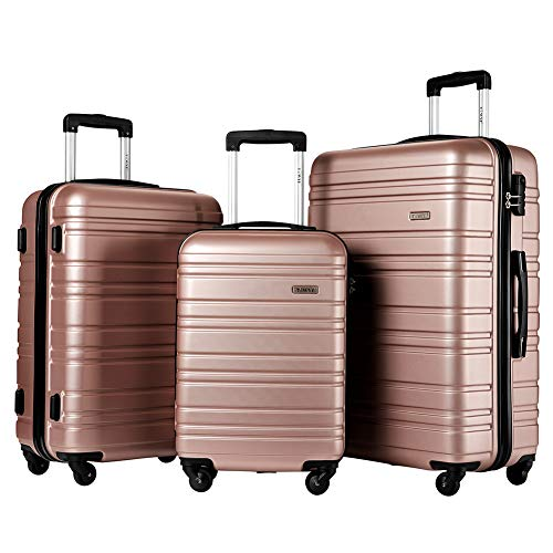 - Hard Side Spinner Luggage 3 Piece Set Suitcase Spinner Hard Shell (rose glod)