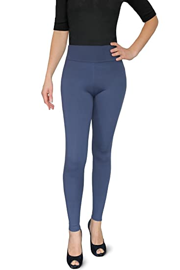 2a81c2be7bb3f4 Women's Solid Ultra Soft and Stretchy Full Length Basic Leggings Pants (XS  - S,