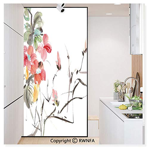 Window Privacy Film UV Blocking 11.8x59.8,Popular Early Period Asian Watercolors Print with Vivid Floral Motifs Art Picture 3D Static Self Adhesive Glass Stickers for Home & Office,Multicolor
