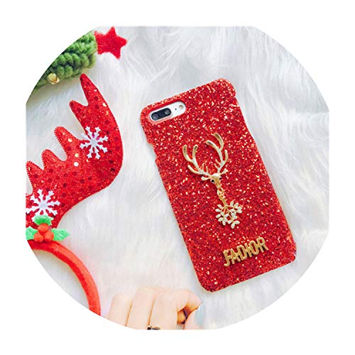 Flash Sequins Glitter Phone Case for iPhone X 8 7 Plus 6S XS MAX XR Christmas elk Ultra Slim Bling Hard Shell Cover Capa,Beige,iPhone 6s Plus