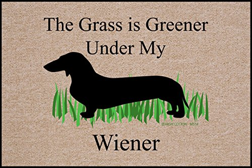 The Grass is Greener Under My Weiner Dachshund Doormat (Mat Dachshund Door)