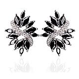 Leaf Design Black Cubic Zirconia Stud Earrings 0.63''x0.91'' for Women Girls, Luxury Bridal Jewelry Gift