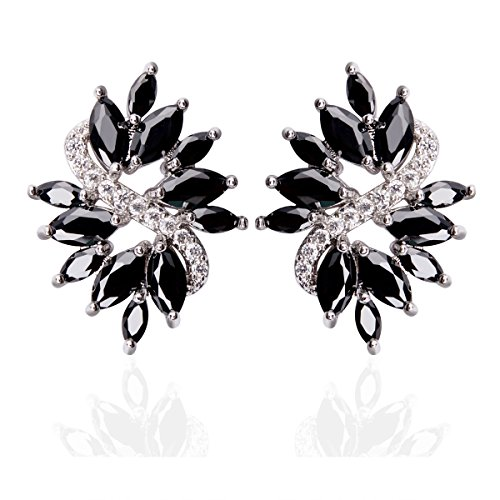 Leaf Design Black Cubic Zirconia Stud Earrings 0.63