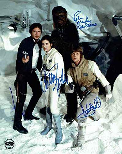 Star Wars Cast Harrison Ford, Carrie Fisher, Mark Hamill, Peter Mayhew Signed Autographed 8x10 Inch Photo Print