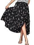 iLover Womens Boho Floral High Waist Summer Beach Wrap Cover up Split Maxi Skirt