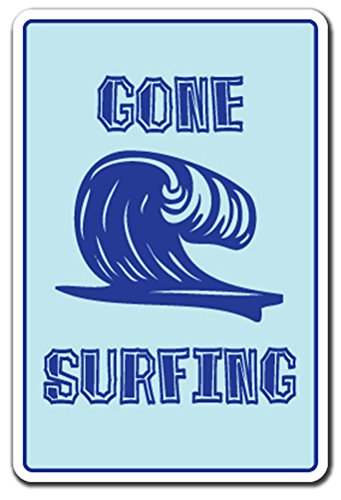 Surfing Gone Surf Sign (Gone Surfing -sign- Surf Surfer [3 Pack] of Vinyl Decal Stickers | 3.3