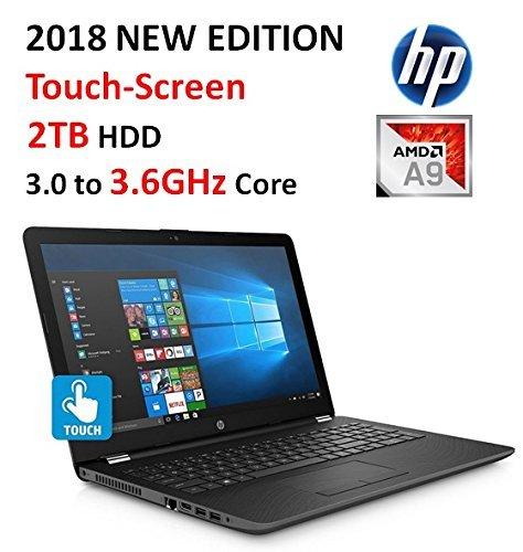 "2018 HP Premium High Performance 15.6"" HD Touchscreen Laptop, AMD A9-9420 Processor (up to 3.6 GHz), 8GB RAM, 2TB HDD, DVD Burner, 802.11AC Wi-Fi, Bluetooth, HD Webcam, Windows 10 (Smoke Gray)"
