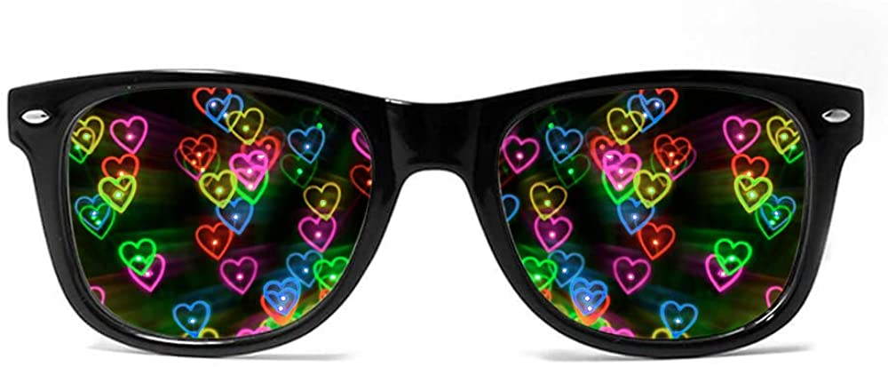 Heart Effect Diffraction Glasses See Hearts,3D Heart Shaped Blocking Glasses