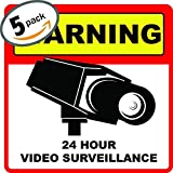 """Home Security System Stickers - 5.5"""" x 5.5"""" inches - Video Surveillance Sticker - Surveillance Signs - Warning Surveillance Sticker - Robbery & Theft Prevention - Home Security Alarm Sticker - 5 Pack"""