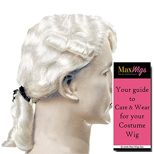 Aristocratic Colonial Man Color Brown - Lacey Wigs Jefferson Hamilton Tallamdge 18th Century Widows Peak Pigtail Bundle With MaxWigs Costume Wig Care (Aristocratic Wig)