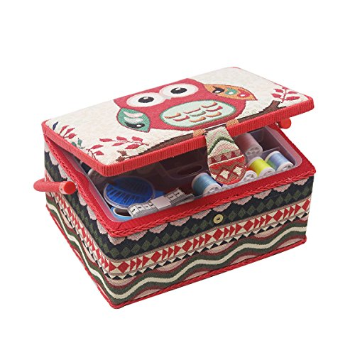 Sewing Basket Organizer - Includes Sewing Kit Accessories/Insert Tray/Handle/ Built-in Pin Cushion & Interior Pocket/Legs - Owl Pattern - Large 12.2 x 9.2 x 6.7 inches - by D&D Design by D&D
