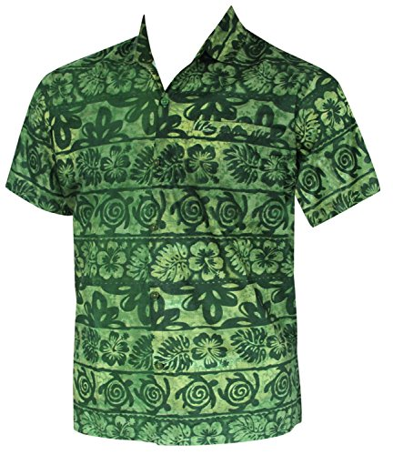 Hawaiian Shirt Men Short Sleeve Pocket Aloha Beach Holiday Cotton 1892 Green XL (La Made Shirt compare prices)