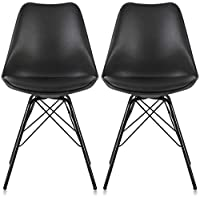 Krei Hejmo Plastic Dining Chair Side Chair with Iron Base - Set of Two (2) (Black)