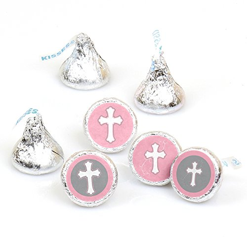 Little Miracle Girl Pink & Gray Cross - Party Round Candy Sticker Favors - Labels Fit Hershey's Kisses (1 Sheet of 108)