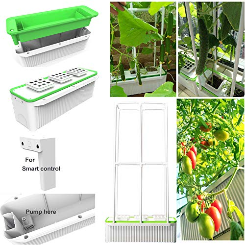 "Big Smart Indoor Hydroponics Growing System Self Watering Planter Indoor garden for Big Climbing Plants with Built-in Pump and Smart Reminder plus 60"" Climbing Trellis Super hydroponics Growing system"