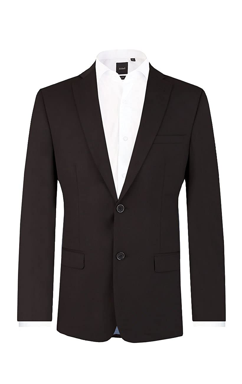 Dobell Mens Black Suit Jacket Regular Fit Notch Lapel