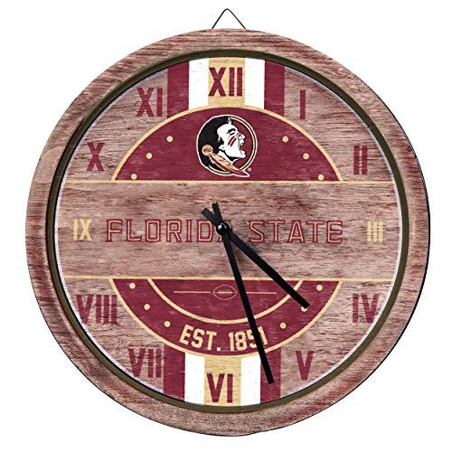 FOCO NCAA Florida State Seminoles Team Logo Wood Barrel Wall ClockTeam Logo Wood Barrel Wall Clock, Team Color, One Size