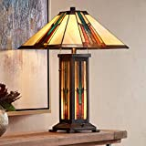 Ranier Mission Table Lamp with Nightlight Bronze Antique Stained Glass for Living Room Family Bedroom Bedside Nightstand - Robert Louis Tiffany