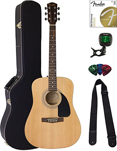 Fender FA-100 Dreadnought Acoustic Guitar - Natural Satin Bundle with Hard Case, Tuner, Strings, Strap, and Picks