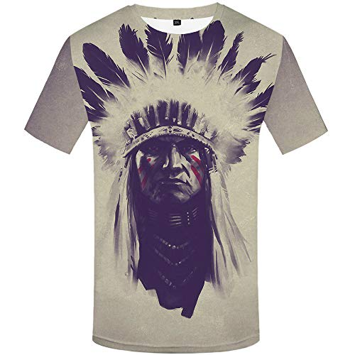 (KYKU Native American T Shirts for Men Chief Tshirt Feather T Shirt 3D Printed T-Shirt)