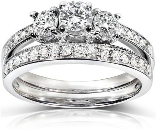 Kobelli Three-Stone Diamond Engagement Ring and Wedding Band Set 3/4 carat (ctw) in 14k White Gold